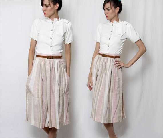 Vintage 80s Striped Pink Tan Cream Below the Knee Skirt /