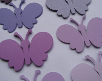40 Butterflies. 4 inch. CHOOSE YOUR COLORS. Custom Orders Welcome.  Purple, Lavender, Iris, Lilac.
