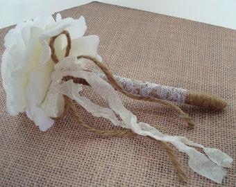 Flower pen-rose guest book pen-wedding flower pen-jute wrapped pen-black ink-vintage rustic wedding-shabby chic.