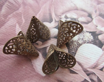 Vintage Brass Filigree Cones With Patina 4Pcs.
