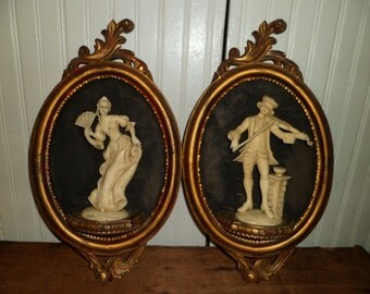 3D Classical Italian Figures In Gilt Frame Empire Art Products