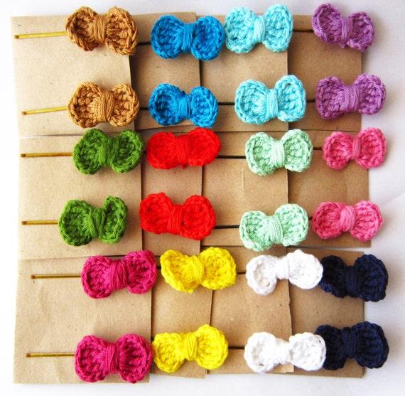 Crochet Hair Ribbons : Crochet hair bows, baby hair bows, hair bow bobby pins, crochet ...