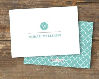 Note Card - Quatrefoil Monogram - Pretty with a Pattern -  Printable