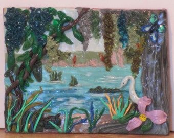 """ACEO polymer clay painting   """"Louisiana Swamp"""""""