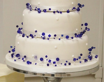 CUSTOM crystal and freshwater pearl wedding cake necklace 3 tier decoration topper ribbon beaded jewellery jewelry