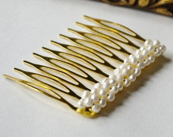 freshwater tiny ivory nugget pearl gold hair comb pin for wedding or prom