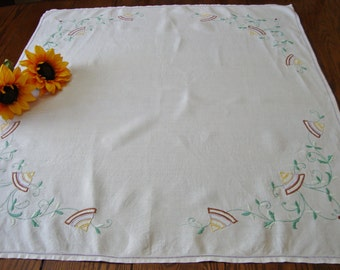 Vintage Tea Cloth Embroidered Table Cover Tablecloth