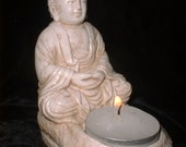 Meditative Buddha Statue with Tea Candle in Stone Finish