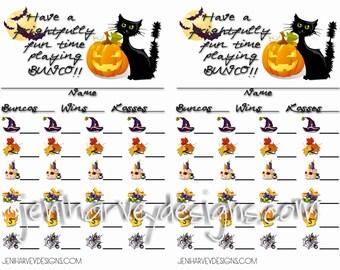 Frightful (Halloween) Bunco Score Cards