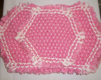 Vintage Crocheted Pink White Placemats