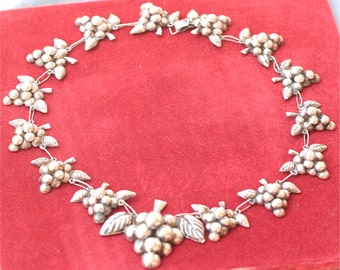 Vintage Mexican Sterling Silver Figural Grape Bunches Necklaces