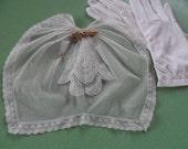 Cravat, Titanic, cream -white lace in delicate net, Antique.