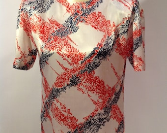 Abstract Red White & Blue 1980s Blouse