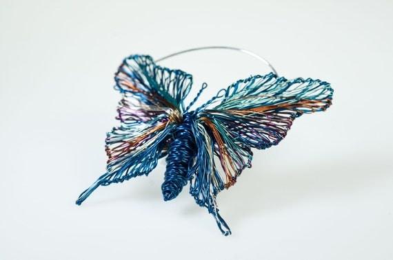 Blue Butterfly Jewelry: Butterfly Brooch Blue Butterfly Jewelry Unique By Vmikro