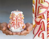 Carved candle - Small candle - Red and White candle