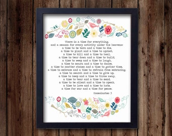Ecclesiastes 3- There is a Season- bible verse, scripture (8x10)