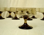 8 Smokey Brown Glass Serbet Dishes, Ice Cream Dish, Dessert Dish, Compote