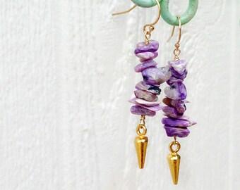 Purple Earrings - Charoite Gemstone - Spike Jewellery - Gold Vermeil Jewelry - Hispter Modern