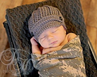 Baby Newsboy, Newborn Hat, Baby Boy, Newborn Photo Prop, Crochet Baby Hat, Photography Prop, Newsboy Cap, Hospital Hat
