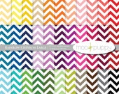 Chevron Digital Scrapbook Paper Pack  --  Rainbow Chevron Large --  12x12 and 8.5x11  -  INSTANT DOWNLOAD