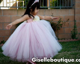 Flower girl dress.Baby Pink Tutu Dress with Pink Underlay.Pale pink dress.Vintage dress.baby tutu dress, toddler tutu, wedding, birthday,