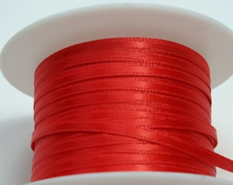"1/8"" Red Satin Ribbon - Whole Spool - 100 yds"