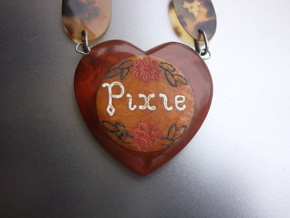Vintage genuine tortoise shell pique pixie by for Real tortoise shell jewelry
