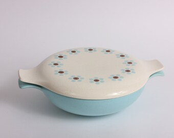 PebbleFord Covered Dish, Vegetable Serving Dish, Covered Casserole, Mid Century Daisy.