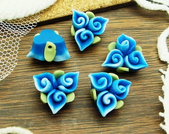 4pcs (14mm) Unique Fimo Flower,Deep Blue