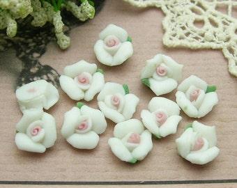 15 pcs Rose Ceramic 8mm,White / Pink Centre(FCN-10R)