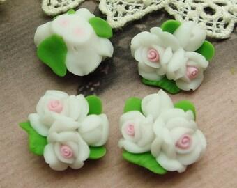 4 pcs  Beautiful Fimo Rose Flower 18 mm,White   (WP10-16)