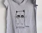 grumpy cat gray v-neck tshirt  womens