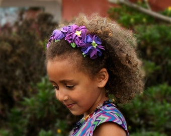 Fairy crown purple floral head band flower halo headband garland