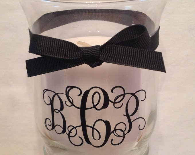 Personalized GLASS CANDLE HOLDER with Monogram, Name, Initial, Polka Dots & Ribbon