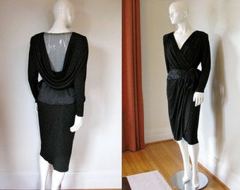 Vintage 1980s Sexy Slinky Little Black Dress with Plunging Neckline Mesh Back and Embellished Back Neckline LBD