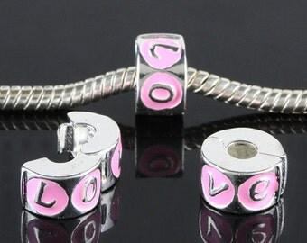 Stopper/Clip LOVE Bead Pink Enamel