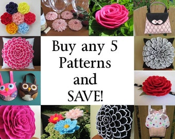 Buy Any 5 PDF Patterns /Tutorials and SAVE - Flower Pillow Patterns, Hairclip Patterns, Brooch Patterns, Purse Patterns, Coasters