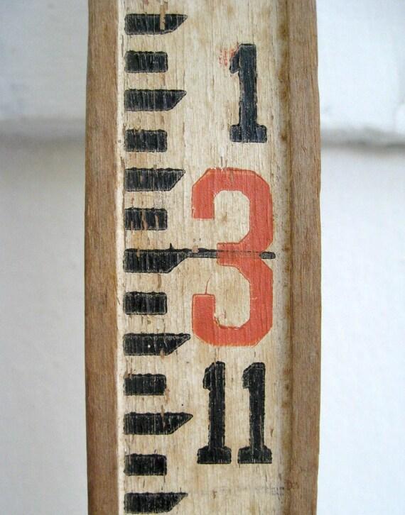Vintage Surveyor Leveling Rod Wooden Ruler Measuring Stick