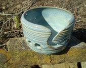 Yarn bowl, Blue Rutile glaze.