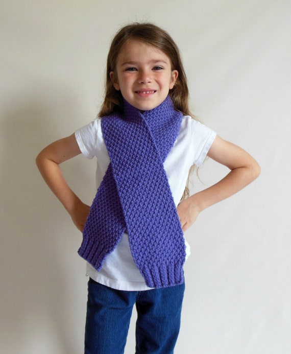 Clearance 50% off and FREE SHIPPING-Knitted Child/Teen/Adult Scarf in Purple