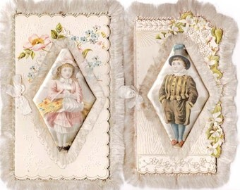Victorian Greeting Cards Ornate Puffy Satin Card Silk Fringe 1800s Card Boy Girl Twin Set 1800s Period Fashion 1880s