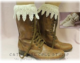 Lace Boot Socks, knit, short, slouch, lace, combat boots, cowboy boots, BOOT BLISS  Ivory, SLXC2L