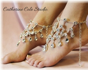 CRYSTAL Barefoot sandals foot jewelry wedding shoes bridal bridesmaid prom eveningwear beach wedding Shoe Jewelry Catherine Cole Studio SJ5