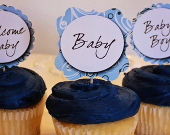 Printable BABY SHOWER Cupcake Toppers Boy or Girl - also Bridal Shower or Birthday - DIY