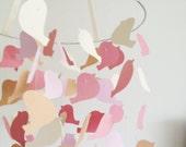 The Golden Pink Bird Mobile / / /  Nursery Decor, Photo Prop, Baby Shower Gift, Crib Mobile.