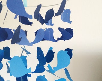 The Blue Ombre Bird Mobile / / / Nursery Decor, Photo Prop, Baby Shower Gift, Crib Mobile.