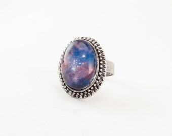Nebula Galaxy Ring, Cosmic Jewelry, Adjustable Ring .
