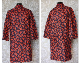 Vintage 1960's Blue and Orange Floral Print Mod Mini Dress with Mandarin Collar S/M