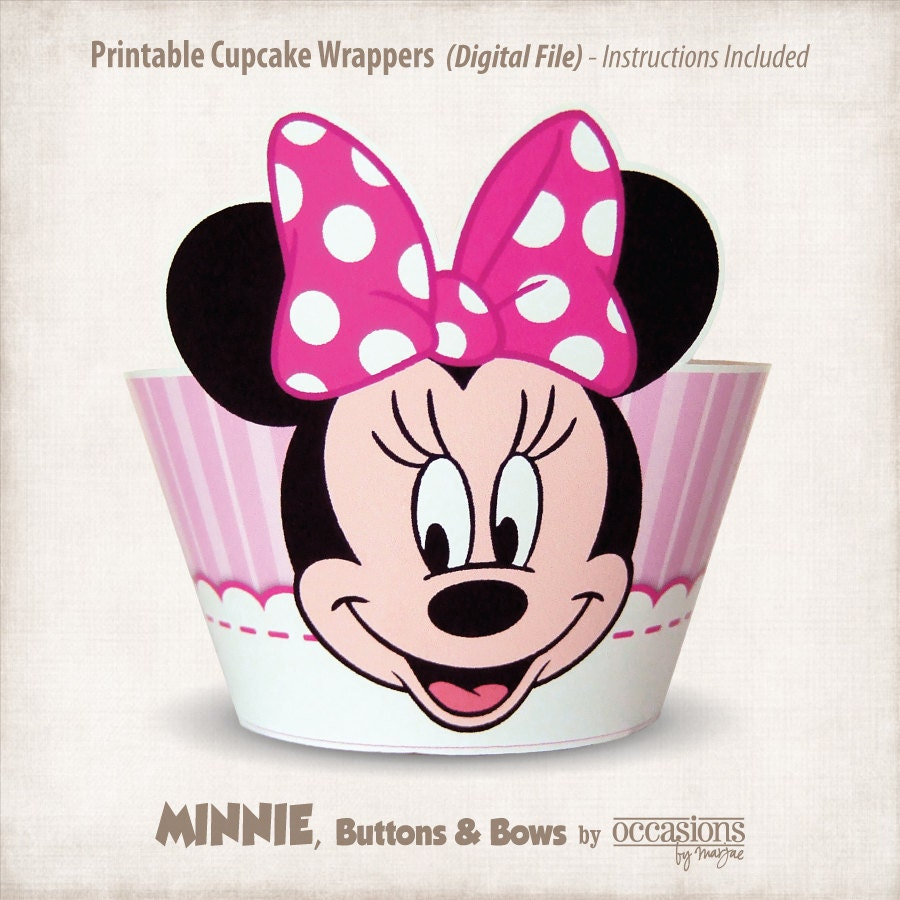 Printable Minnie Mouse Cupcake Wrappers by OccasionsByMarjae