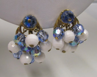 Vintage Signed Trifari Blue AB & White Lucite Beaded Chandelier Non Pierced Earrings, Gold tone Metal,  Perfect for Prom or Wedding